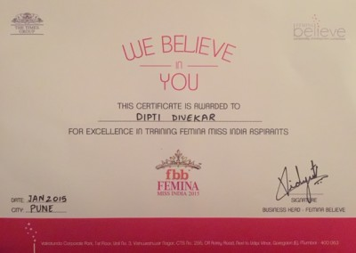 Certified by the Femina Believe Learning Academy with The Times Group