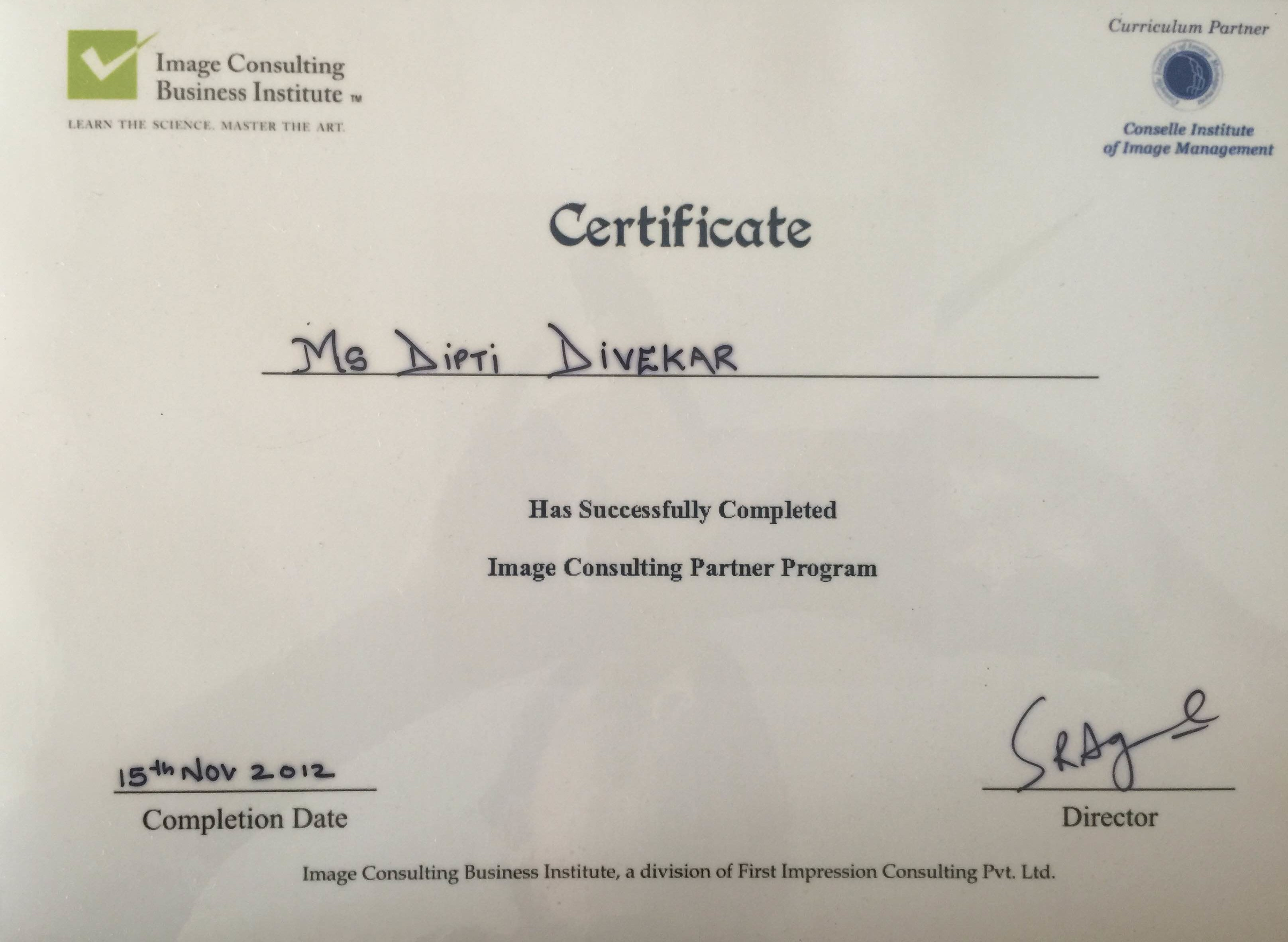 Certified by the Conselle Institute of Image Management U.S.A. & the Image Consulting Business Institute