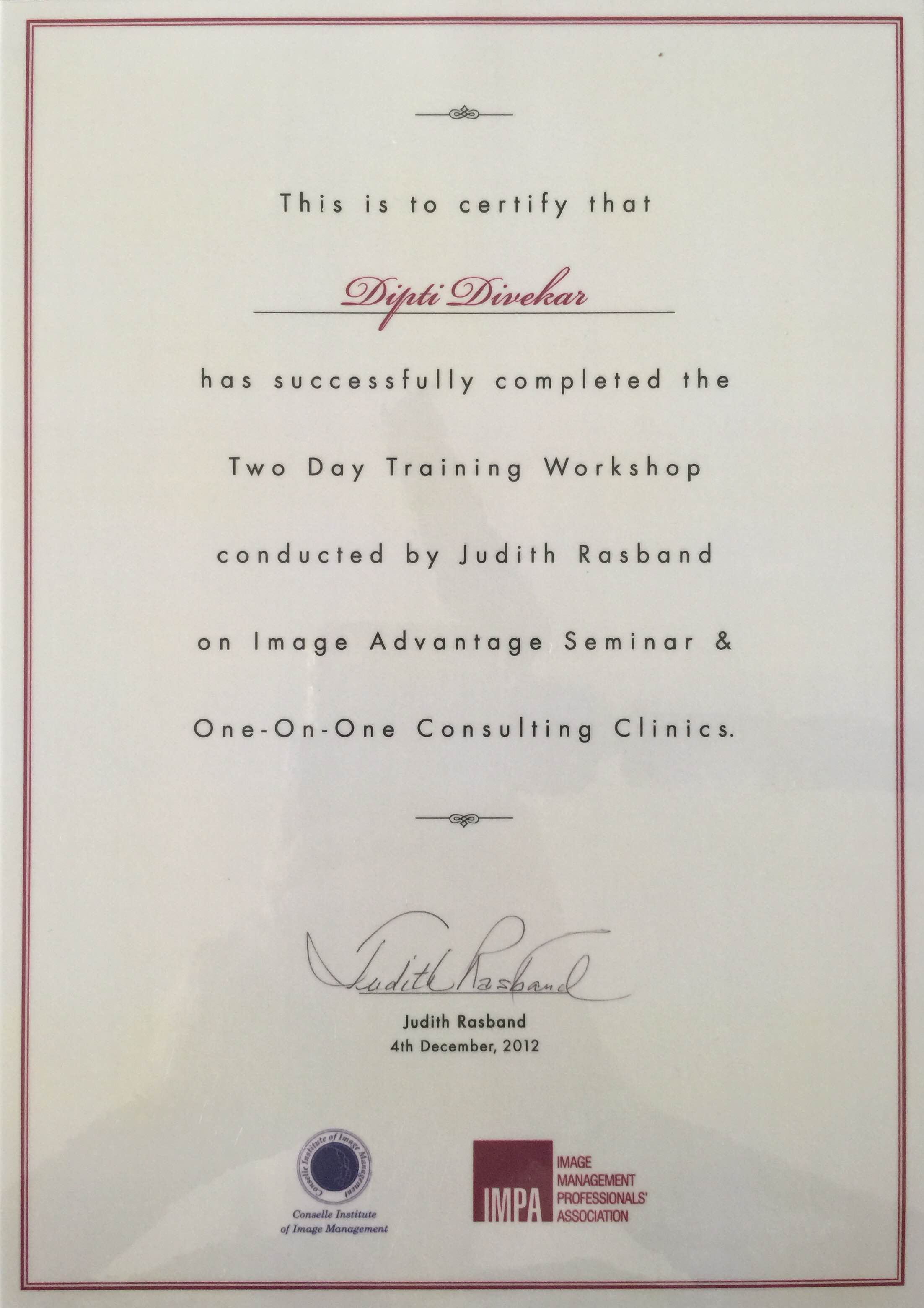 Certified by the Conselle Institute of Image Management U.S.A. & the Image Management Professionals Association