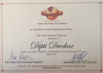 Certified by Voice Master International U.K.